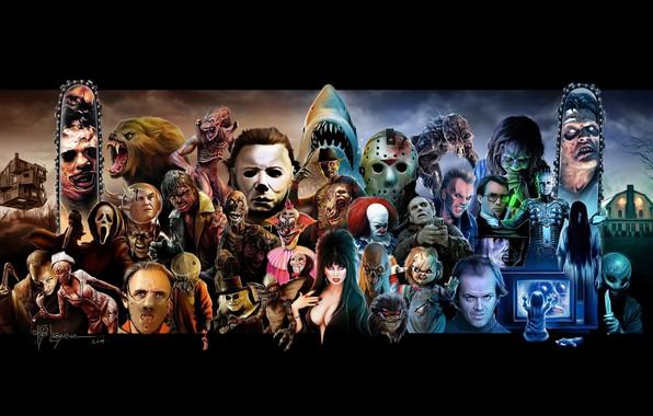 Картинка Муха, Кино, Хэллоуин, Jason Voorhees, Оборотень, Сияние, Крик, Арт, Ужас, Фредди Крюгер, Восставший из ада, …