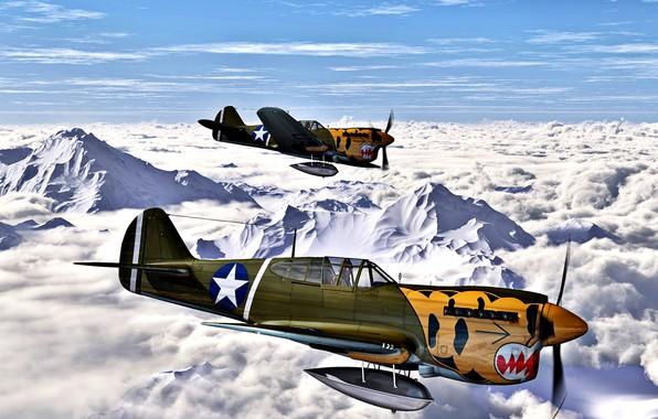 Картинка 1942, Warhawk, P-40E, ''Aleutian Tigers'', 11th FS, 343rd FG, 11th US Army Air Force