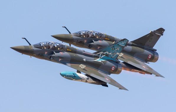 Картинка пара, полёт, многоцелевой истребитель, Dassault Rafale, ВВС Франции, Rafale C