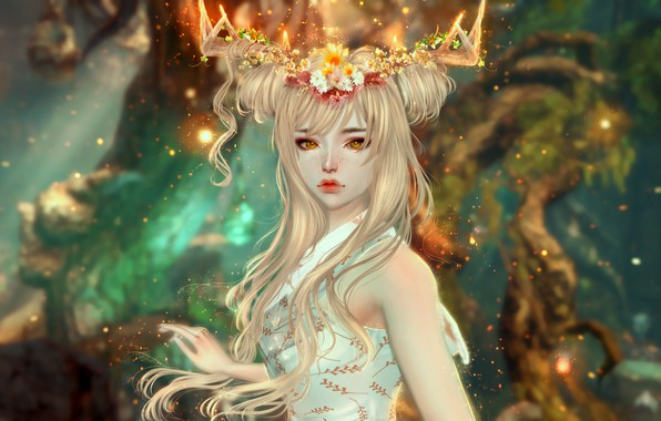 Картинка фентези, огоньки, красивая, белое платье, волшебница, грустные глаза, обаятельная, фэнтези арт, девушка олень