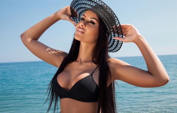 Картинка море, купальник, солнце, шляпка