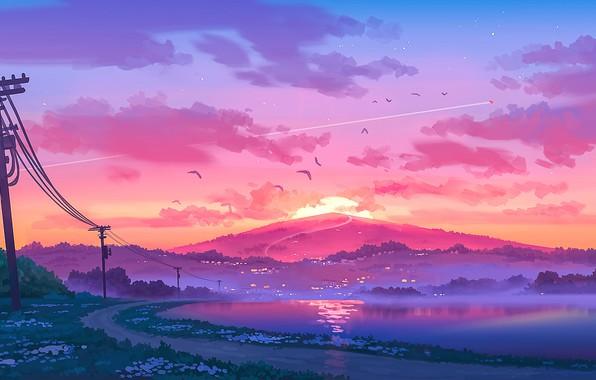 Картинка закат, столбы, провода, тишина, гора, розовые облака, берег реки, туман вечером, дорога в даль, птицы …