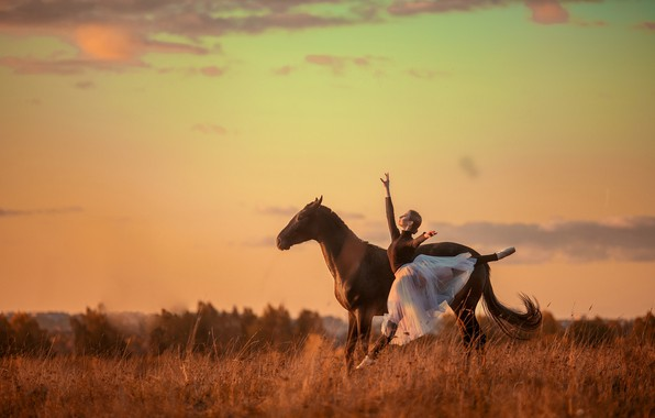 Картинка девушка, поза, конь, прыжок, лошадь, танец, балерина
