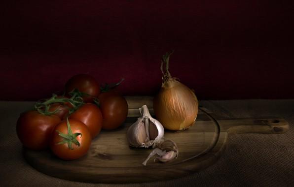 Картинка лук, помидор, чеснок