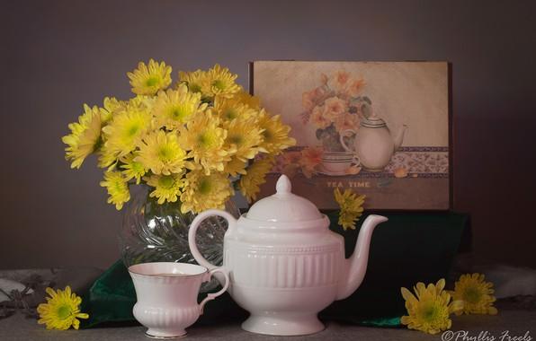 Картинка цветы, стиль, картина, чайник, чашка, натюрморт, хризантемы, жёлтые
