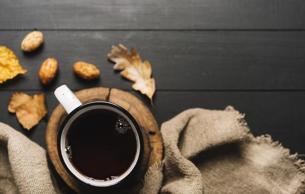 Картинка осень, листья, фон, дерево, кофе, colorful, кружка, чашка, vintage, wood, background, autumn, leaves, cup, coffee