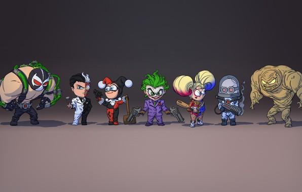 Картинка Джокер, Joker, Харли Квинн, Двуликий, Two-Face, Comics, Concept Art, DC Comics, Lex Luthor, Бэйн, Bane, …