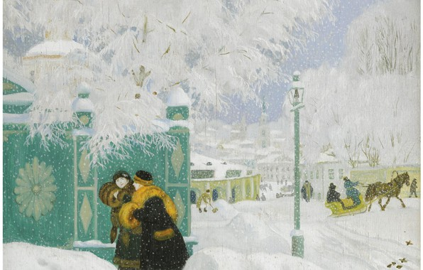 Картинка 1919, Boris Mikhailovich Kustodiev, WINTER SCENE, oil on board