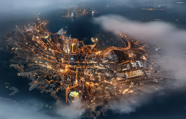 Картинка облака, остров, Китай, вид сверху, Hong Kong