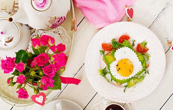 Картинка любовь, сердце, розы, завтрак, love, яичница, овощи, heart, pink, flowers, romantic, eggs, breakfast, roses