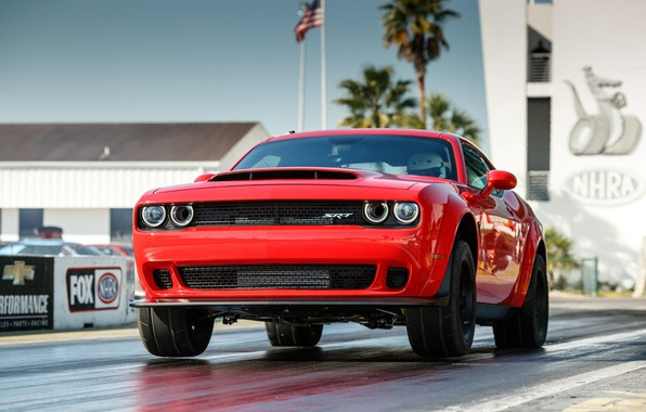 Картинка Red, SRT, Demon, Drag Racing, Dodge Challenge