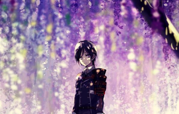 Картинка цветение, военная форма, глициния, вистерия, Touken Ranbu, Namazuo Toushirou, под деревом, Танец Мечей, by Kyanarinu