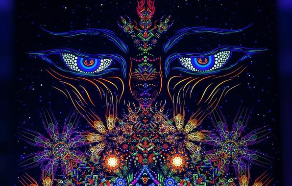 Картинка глаза, лицо, lights, узоры, неон, огоньки, eyes, patterns, neon, face, темно-синий фон, dark blue background, …