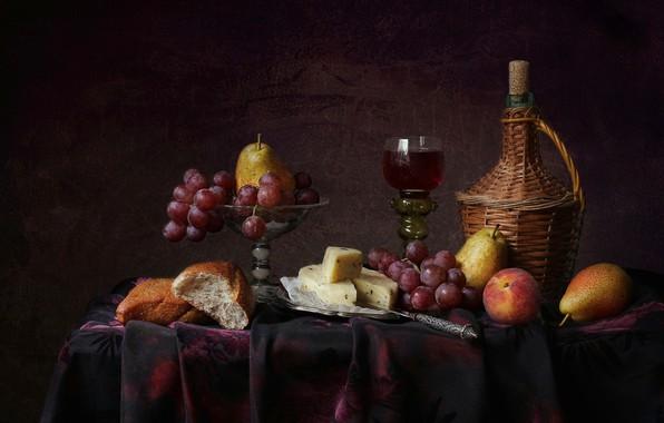 Картинка стиль, фон, вино, бокал, сыр, хлеб, виноград, фрукты, натюрморт, груши, персик, бокал вина, бутыль