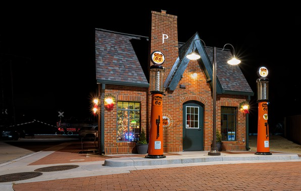 Картинка станция, вечер, США, Oklahoma, Red Fork, Phillips 66 Station