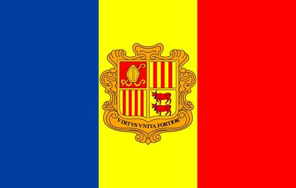 Картинка флаг, fon, flag, coat of arms, andorra, андорра