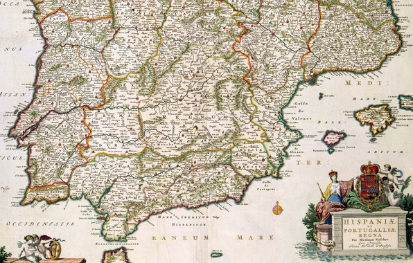 Картинка old maps, старые карты, Испания и Португалия, Николас Висшер младший, Nicolaes Visscher II, 1680, Spain …