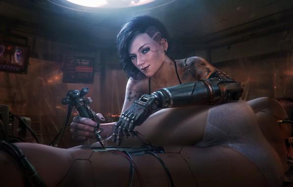 Картинка Девушка, Будущее, Провода, Механика, Арт, Art, Фантастика, Киборг, Illustration, Concept Art, Технологии, Cyberpunk 2077, Characters, …
