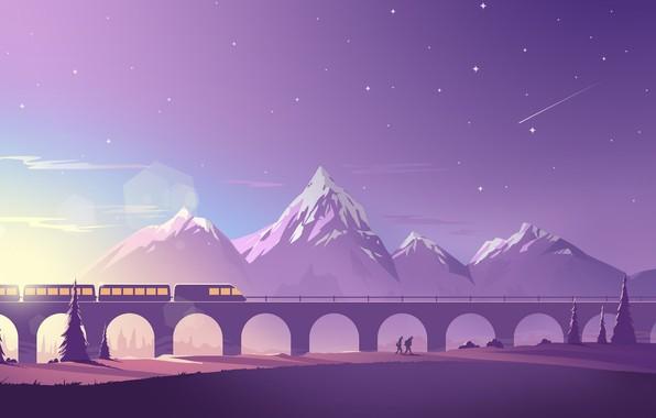 Картинка Минимализм, Горы, Звезды, Гора, Люди, Поезд, Виадук, Пейзаж, Блик, Транспорт