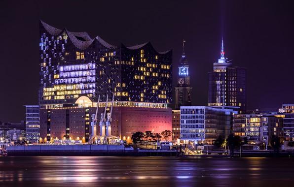 Картинка ночь, Hamburg, Elbphilharmonie
