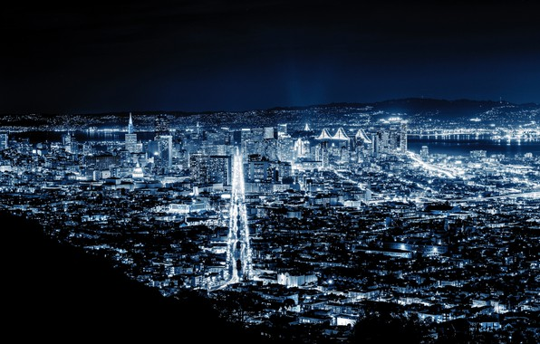 Картинка city, lights, night, San Francisco, blue night