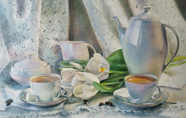 """Картинка акварель, натюрморт, живопись, """"Натюрморт с тюльпанами"""", нежные краски, художник Любовь Титова"""