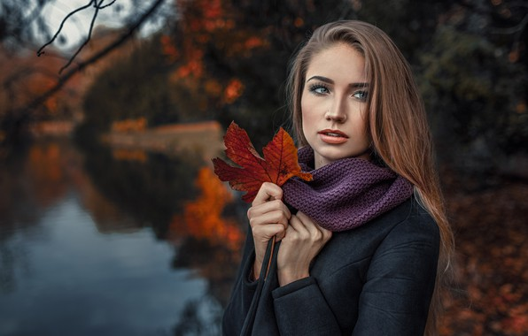 Картинка осень, листья, девушка, боке