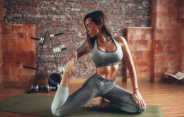 Картинка грудь, поза, модель, Девушка, коврик, фитнес, Angelica Anderson, Roma Roma
