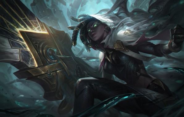 Картинка dark, girl, sword, fantasy, game, green eyes, League of Legends, digital art, artwork, warrior, fantasy …