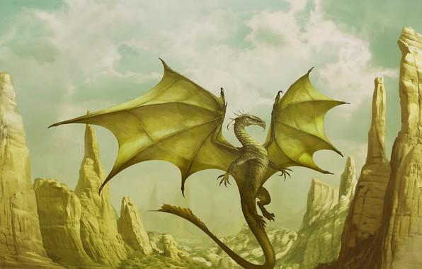 Картинка горы, фентези, дракон, арт, Corona, Godfrey Escota