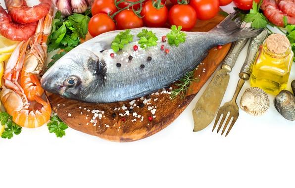 Картинка рыба, креветки, морепродукты, специи