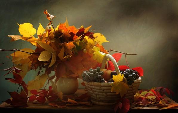 Картинка листья, ветки, ягоды, корзина, виноград, ваза, натюрморт, столик, гроздья, Ковалёва Светлана