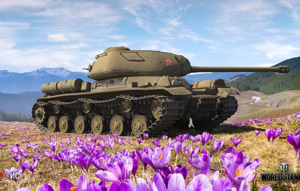 Картинка WoT, World of Tanks, Wargaming, весенний арт, ИС
