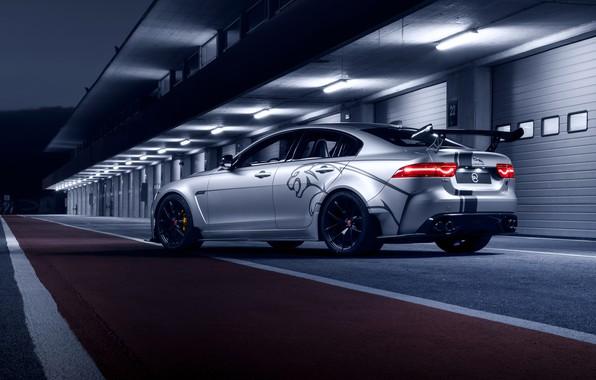 Фото обои Jaguar, вид сзади, 2018, XE SV, Project 8