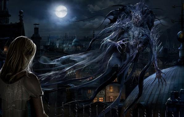 Картинка луна, монстр, демон, moon, ночной город, night, monsters, красавица и чудовище, крыши домов, исчадие ада