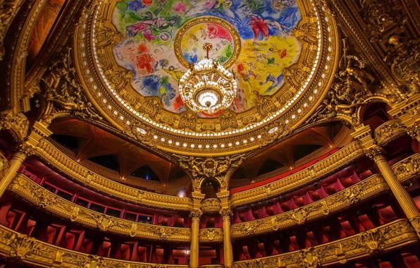 Картинка Франция, Париж, потолок, люстра, театр, роспись, Марк Шагал, опера Гарнье