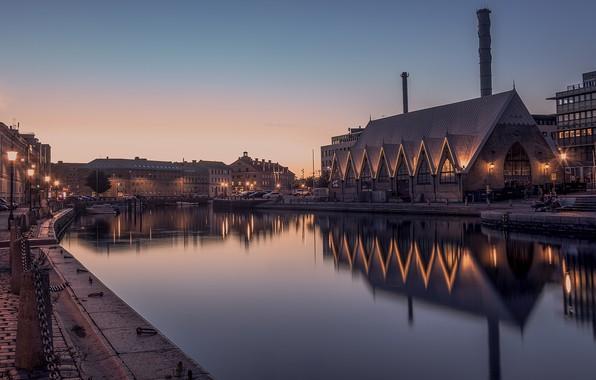 Картинка город, вечер, Швеция, Гётеборг