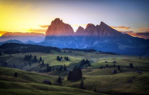 Картинка лето, горы, туман, утро, долина