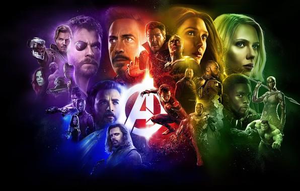 Картинка фантастика, коллаж, черный фон, постер, персонажи, комикс, супергерои, MARVEL, Avengers: Infinity War, Мстители: Война бесконечности