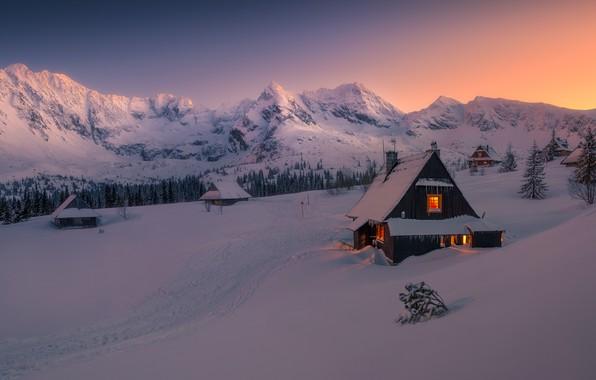 Картинка зима, снег, горы, изба, winter, mountains, snow, hut, Tomasz Rojek