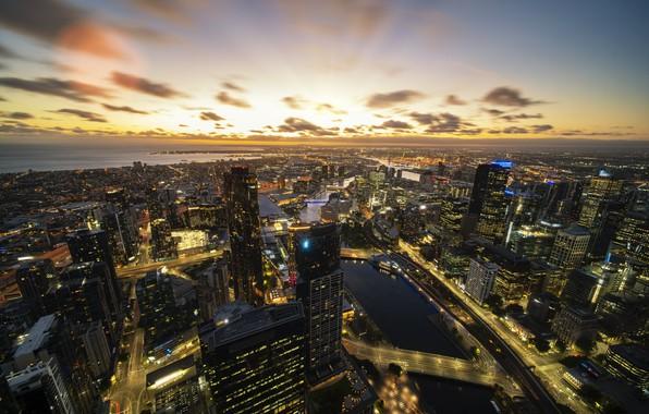 Картинка sunrise, architecture, downtown, australia, melbourne