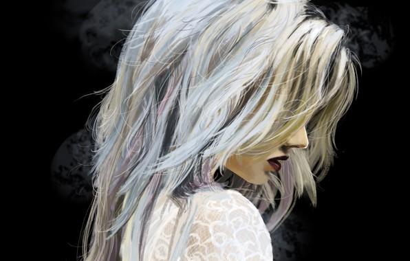Картинка девушка, волосы, арт, блондинка, губы, профиль, черный фон