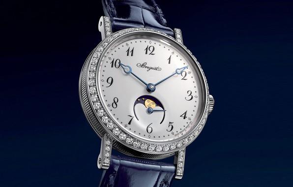 Картинка время, стиль, часы, стразы, циферблат, синий фон, швейцарские наручные часы, женские часы Брегет, фазы Луны, …