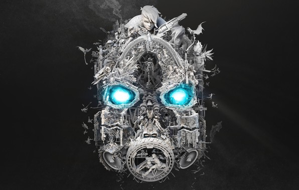 Картинка Blue, B&W, Borderlands, Psycho, Black&White, Borderlands 3, BL3, Vault Symbol
