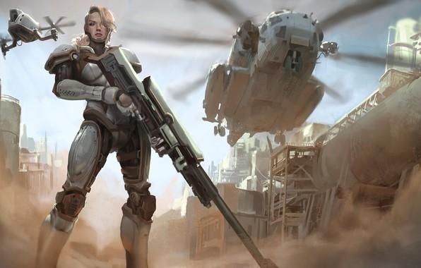 Картинка girl, gun, fantasy, soldier, weapon, Warrior, helicopter, blonde, digital art, rifle, artwork, fantasy art, armored, …