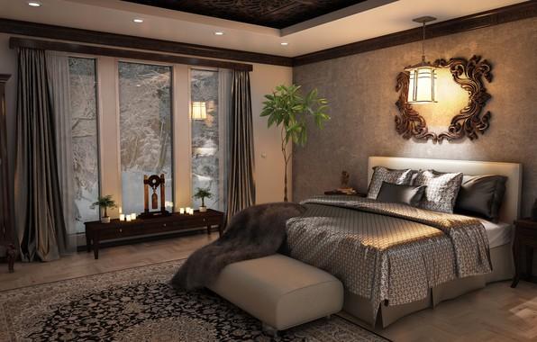 Картинка кровать, зеркало, окно, плед, спальня