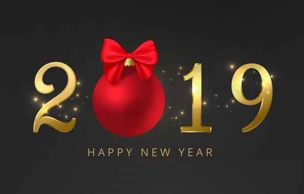 Картинка золото, Новый Год, цифры, golden, черный фон, black, background, New Year, Happy, sparkle, glitter, 2019