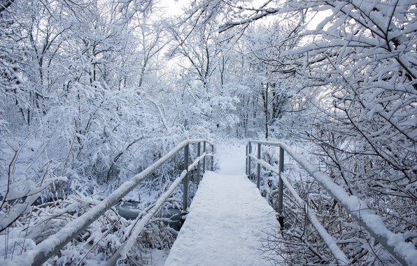 Картинка зима, снег, деревья, пейзаж, снежинки, мост, природа, зимний, landscape, nature, beautiful, winter, snow, snowflakes