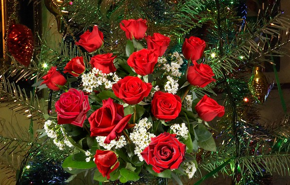 Картинка розы, букет, Новый год, ёлка
