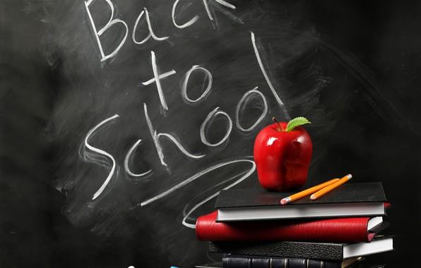 Картинка фон, надпись, книги, яблоко, карандаши, доска, школа, мел, учёба, Back to school